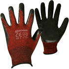 12 PAIRS BLACK RED POLYESTER SHELL WORK GLOVES CONSTRUCTION GARDENING BUILDERS