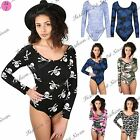 Womens Ladies Floral Skull Camo Print Long Sleeve Stretchy Fit Leotard Bodysuit