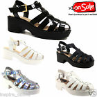 NEW LADIES WOMENS CUT OUT STRAPY GLADIATOR MID LOW BLOCK HEEL SANDALS SHOES SIZE