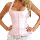 Pink Floral Halter Corset Hook & Eye Closure Lace Up Basque Sexy Boned Outerwear
