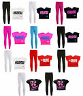 Girls Top & Legging Set Kids Hashtag Selfie It's My Life Print Outfit 7-13 Year