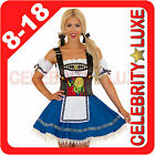 Ladies German Beer Maid Oktoberfest Wench Fancy Dress Costume Blue Embroidered