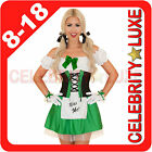 New Ladies Green Kiss Me German Beer Maid Oktoberfest Wench Fancy Dress Costume