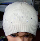 New Beanie Cap Ski Hat  Fuzzy New Cream Brown Gold Sequins  Studs Knit Lambswool