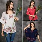 New Women #G Peasant Ethnic Floral Boho Top Tunic Mexican Gypsy Maternity Dress