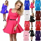 Womens Ladies Square Neck Belted Flared Franki Swing Skater Dress Top Plus Size