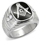 BRAND NWT, MEN'S STAINLESS STEEL MASON RING, SILVER COLOR W/ ONYX & CRYSTALS