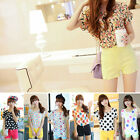 Fashion Korean Style Sleeveless Chiffon Printed Blouse Vest Tank Tops T-Shirts