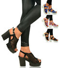 Womens Ladies Chunky Heel Sandals Sling Back Block Cleated Mesh Platforms Size