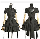 Womens Black Cotton Short Sleeve Tiered Layered Lolita Gothic Punk Cosplay Dress