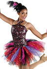 NEW 'Dancing Flame' Black Red Purple Tap Jazz Dance Competition Pageant Costume