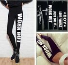 Womens Work Out  Love Just Do It Words Leggings Sports Black Cotton Punk Pants