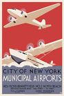 Art Deco Travel Poster 30s New York Airport Sikorsky S-42 Flying Boat DC3 Dakota