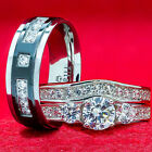 His and Hers Wedding Rings 3 piece 925 Sterling Silver Titanium ENGAGEMENT SET