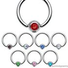 "16G 14G 1/4"" 5/16"" 3/8'' 7/16'' Surgical Steel Captive Bead Ring w/ Gem Septum"