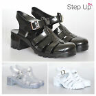NEW Women's Block Chunky Heel Ankle Strap Summer Beach Retro Jelly Sandals