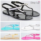 NEW Women's Jewel Detail  Ankle Strap Jelly Summer Beach Holiday Flat Sandals
