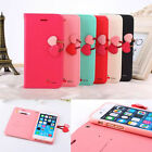 Double cherry button flip stand leather wallet case for Apple iphone Cell Phone