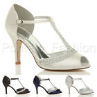 WOMENS LADIES HIGH HEEL PEEPTOE DIAMANTE T-BAR WEDDING PROM SANDALS SHOES SIZE