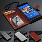 Luxury PU Leather Wallet Card Holder Flip Cover Stand Case For Sony Xperia Phone