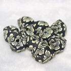 14mm Black Flower Dasiy Facted Cube Polymer Clay Loose Beads DIY Bracelet Chain