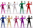 NEW Lycra Spandex Zentai Party Costume Shiny Metallic Open Face Bodysuit Catsuit