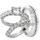 3 pcs Macro Pave 925 STERLING SILVER & Stainless Steel Wedding Rings