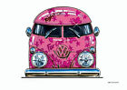 KOOLART CARTOON TEE SHIRT 1991 VW CAMPER VAN SPLITTY PINK VOLKSWAGEN NEWQUAY BUS