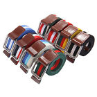 Unisex Woven Canvas Striped Double Loop Buckle Adjustable Waist Belts Waistband