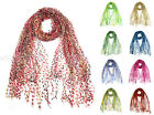 "66"" Wide Crochet Confetti Spring Summer Scarf Knit Multi Color Fringe Fashion"
