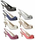 Womens Peep Toe Evening Sandals Ladies Diamante Wedding Prom Party Shoes Size