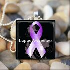 """LUPUS AWARENESS"" LUPUS SUPPORT PURPLE RIBBON GLASS PENDANT NECKLACE KEYRING"
