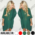 Womens Summer Batwing Long Sleeve Slouchy Oversized Top Tunic Ladies Dress