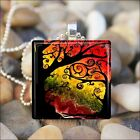 """SUNSET AUTUMN TREES"" FALL LEAVES AUTUMN COLORS GLASS PENDANT NECKLACE KEYRING"