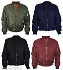 New Womens Classic Bomber Jacket Vintage Zip up Biker Jacket Stylish Padded Coat