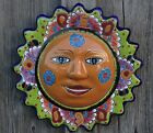 "MEXICAN TALAVERA POTTERY 13.75"" SUN FACE SOL SUNSHINE SCULPTURE HOME/PATIO DECOR"