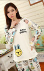 Cute Ladies Womens Animal Prints Rabbits Monkeys Dogs Top Trousers Set Pyjamas