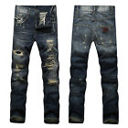 NEW Mens Italy Style *Distressed *Destroyed Dark Blue *Torn JEANS Trousers D607C