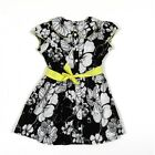 BNWOT GIRLS NUTMEG BLACK & WHITE FLORAL DRESS WITH YELLOW TRIM AGE 2-3 YEARS