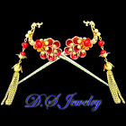 Exquisite Colorful Enamelled Natrual calcedon Stone Phoenix Golden Hair Pins Set