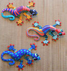 """LARGE HAND PAINTED SET OF 3 WALL HANGING GECKOS EACH GECKO IS 13"""" WIDE"""