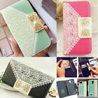 Bowknot Wallet Card TPU Skins Leather Flip Case Cover For Samsung Galaxy Phone