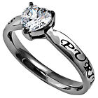Purity Heart Ring Stainless Steel Christian Abstinence Promise Religious
