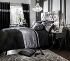 BLACK SILVER COLOUR STYLISH VELVET DIAMANTE DUVET COVER LUXURY BEAUTIFUL BEDDING
