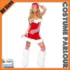 Womens Red & White Christmas Candy Cane Fancy Dress Ladies Costume Sizes 6 - 16