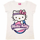 Girls Short Sleeve Hello Kitty Top Kids Cotton Summer T Shirt Cream 3-10 Years