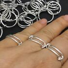 Expandable Wire Wrapped Ring Adjustable - Brass Base Silver Plated