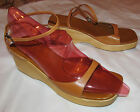 J CREW beige brown leather and wooden platform ankle strap sandals shoes 10 M