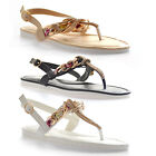 NEW Womens Floral Chain Detail Ankle Strap Casual Summer Beach Sandals
