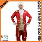 Mens Medieval Noble King Renaissance Town Crier Lord Mozart Fancy Dress Costume